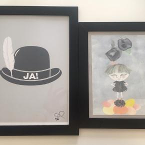 Sælger flotte kunsttryk😃  Det med Ja-Hatten er signeret og nummereret 87/100. Kasia Lilja. Kr 100+  Kirstine Falk A5 kunsttryk med pige og fugl Kr 50+  Sælges samlet eller enkeltvist. Sender gerne som alm brev.