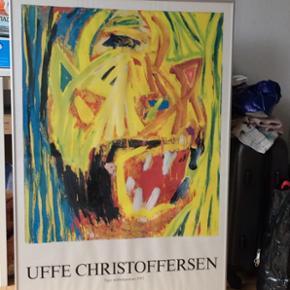 """Stor plakat i ramme. Uffe Christoffersen  Årets kunstplakat 1994'  """"Tiger dobbeltportræt 1992""""   Hvad er dette værd ? 😃  Mål : 68 cm Bred - 98 cm Lang"""