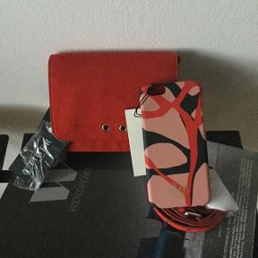 Small red bag and phone case , Tiger of Sweden and byMaleneBirger. New price was 1400 and 300 .