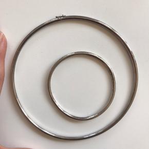 Halskæde og armbånd. Oprindelig ikke et sæt men er brugt sådan Halskæde er Sterling sølv 925 Trænger til at blive pudset