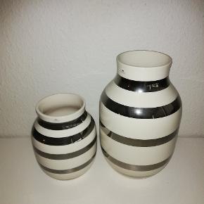 Kähler vaser med sølvstriber på hhv 20 cm og 30.5 cm