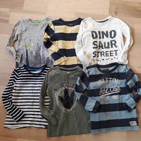 Trøjer i str. 110/116, 15 kr/stykket. Ved køb af dem alle følger trøjerne på billede 2 gratis (der er et lille næste usynligt plet på hver trøje). Fra røgfrit hjem.