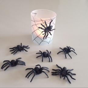 Slip fantasien løs og vær kreativ med disse plast edderkopper. Du kan dekorere nogle matte lyslygter, som jeg har gjort. Edderkopperne fastgøres v/f.eks. at påsætte klæbepuder. De er super flotte og uhyggelige 👻 når mørket sænker sig.  Samlet pris (7 stk.) kr. 15.