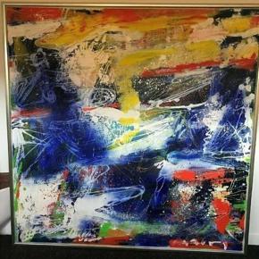 Peter Mogensen akrylmaleri - abstrakt. B: 140 cm - H: 140 cm. Meget flot, men sælges grundet pladsmangel.