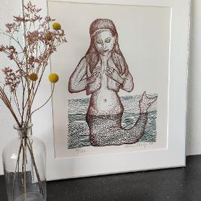 """Fantastisk litografi af Herman Stilling """"havfruen"""" i ramme.62*70 inklusiv ramme"""