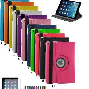 """GRATIS FRAGT! iPad 2/3/4/Air 1+2/Mini/PRO 360 grader roterbart læder cover + pen + film-------------------------------------------------------------------------------------------------------------------------------------  BESKRIVELSE: iPad 2/3/4/Air 1/Air 2/PRO (9,7"""" + 12,9"""") og alle Mini-modellerne (1-4) læder cover - 360 grader roter-bart + stylus pen + skærmbeskyttelsesfilm. Sleep/Wake funktion som tænder og slukker iPad'en når coveret åbnes og lukkes.  SUPER POPULÆR! FLERE END 1100 SOLGTE! -------------------------------------------------------------------------------------------------------------------------------------  PASSER TIL: iPad 2/3/4, Air 1/Air 2/PRO (9,7""""+12,9"""")/Mini 1/2/3/4 -------------------------------------------------------------------------------------------------------------------------------------  PRIS: 100 kroner (tilbud så længe lager haves) (Normal pris 299,00)  SÆRPRIS: Cover + Panserglas for KUN 160,- alt i alt  FRAGT: Gratis  -------------------------------------------------------------------------------------------------------------------------------------  MEDFØLGER: Gratis fragt + gratis stylus touch screen pen + skærmbeskyttelsesfilm -------------------------------------------------------------------------------------------------------------------------------------  FARVER: Turkis/Lyse-blå (1), Orange (2), Gul (3), Hvid (4), Lilla (5), Baby-pink (6), Blå (7), Grøn (8), Rød (9), Sort (10), Rosen-rød (11).  Andre farver: Spørg"""