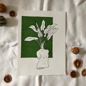 Plant body 🌱 Tegnet med sort lineline pen og grøn tusch  30x40cm ✨  Kan laves i andre farver pr. Bestilling 💫