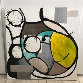 Lærred malet med akryl.  Varen ER tilgængelig medmindre der står solgt.  Måler 100cm x 100cm x 4cm i tykkelsen Afhentning på Frederiksberg. Ønsker KUN oprigtige henvendelser.