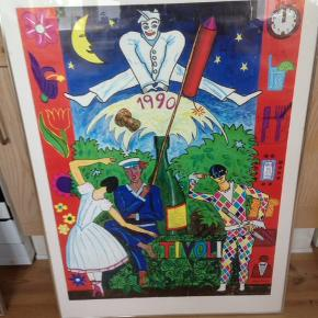 Original Tivoli plakat 1990 af  Lars Ravn. I glas og ramme 101 x 71 cm.