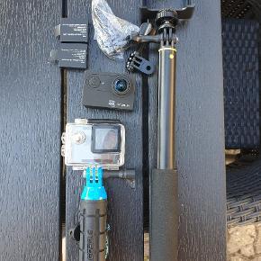 Action kamera 4k med Wi-Fi  12 mega pixel  64 GB Micro sd  Vandtæt kabinet  'Selfie stænger' en teleskop  Div. Klemmer  2 ekstra batterier   Kom med realistisk bud  Befinder sig i Aalborg