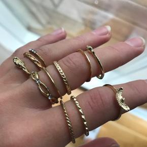 Nye ringe aldrig taget i brug  Forskellige str, da de passer til forskellige led. Har selv små fingre.   Mp 40kr for alle 12 stk