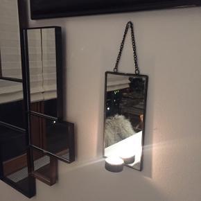 Lille spejl 10x20 cm med fyrfadslys, brug det fx i sommerhus, hygge på badeværelset ...