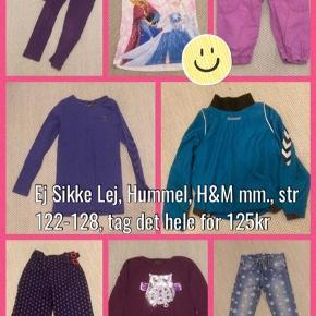 Blandet tøj fra bla Ej sikke lej, Hummel, H&M mm, velholdt, str 122-128, tag det hele for 125kr