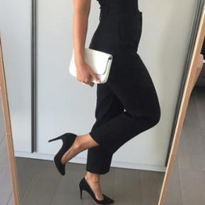H&M studio, soft high waisted straight black trousers
