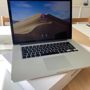Sælger min MacBook Pro fra 2012. Er brugt meget sparsomt da jeg har haft arbejdscomputere i mellemtiden. Computeren fremstår pæn, opladeren har lidt brugspor men intet af betydning. Kommer med kasse og kvittering. Afhentes 6700 eller kan sendes mod forudbetaling.