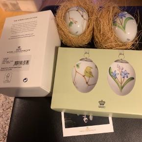 Royal Copenhagen æg i original æske med rede og bånd -samler objekt .. 2018 gulbug og blå skilla (1249 995) Mål 6 cm  Sender + Porto #30daysselout