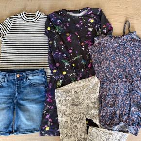 Sælges som en samlet pakke. Shorts, t-shirt og buksedragt fra H&M, kjole fra Hummel og leggings fra Soft Gallery. Nypris kr. 1.000,-