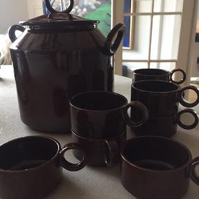 Fantastisk gammelt Knabstrup drinks bowle sæt med otte kopper
