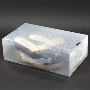 Smarte gennemsigtige skoæsker der gør det nemt at opbevare mange par sko og samtidigt have det fulde overblik. Kan sendes hvis sender betaler for fragt. Æskerne er helt nye og ikke samlet. Str. 30 cm længde x 18 cm bredde x 10 cm længde.