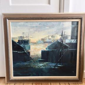 Fascinerende olie maleri af maleren Roald Hansen i de smukkeste farver. Motiver er fra et havnemiljø. Maleriet måler 89x79cm.
