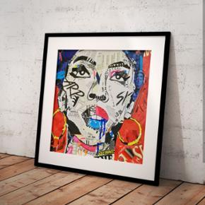 Art by Bisse. Lauryn Hill. Collage print kan forudbestilles nu.   Print 60x60 cm. Uden ramme  Tags: plakat, lp ramme, lauryn Hill