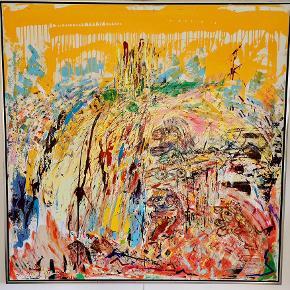 Flot farverigt  abstrakt oliemaleri af Olox ( Ole Kristensen ) 145x145