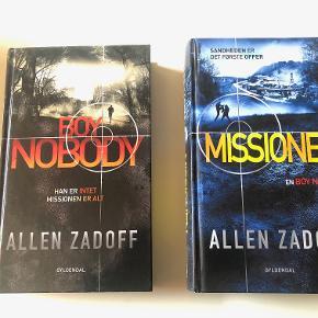 """Boy Nobody - bind 1 og bind 2  Bind 1: Zach er Boy Nobody - en ung fyr uden navn og uden historie. Kidnappet som barn af """"Programmet""""  og uddannet til soldat. Zach er 16 år .....  Bind 2: Zach får en Mission, men efterhånden som tingene udvikler sig, går det op for Zach, at idet er som det giver sig ud for at være ...  Bøgerne er fejlfri og som nye.  Prisidé dkk 100,00 - kom gerne med et seriøst bud :-)"""