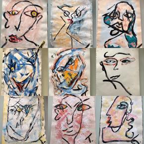 Sælger disse  malerier UDEN Ramme. 345 kr. Inklusiv fragt 27 x 36  cm  Følg med på min profil, samt flere malerier kommer til salg De bliver sendt i en foret kuvert liggende ml 2 papstykker