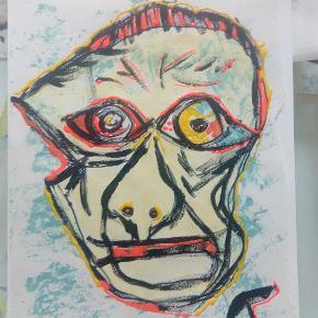 Maleri malet på tykt papir i A3 størrelse Uden ramme  'Guess who ' Gætter du hvem det er , så er fragten gratis :)  Se mine andre malerier på mine andre annoncer :) T.ByArt