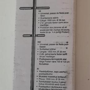 Postkassestolpe *NY* Sortlakeret stålrør. Helt ny i ubrudt emballage. Længde 150 cm. - diameter 3,8 cm. Nypris: 119,- kr. Pris: 40 kr. eller kom med et bud  Porto:  49 kr. som pakke med G-porto (GLS) 70 kr. som pakke med G-porto (PostNord)
