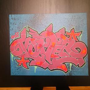 100 kr for begge. Graffiti kunst. Posca på lærred.