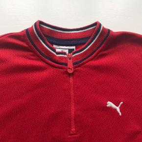 Vintage Puma Half zip  Rød/navy Str S, men fitter M