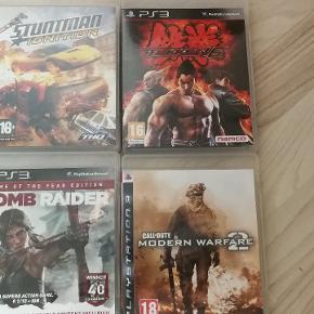 Sælge disse lidt playstation 3 spil. Der er: Call of duty, Modern warfare 2 Tomb Raider Stuntman Ignition Tekken 6  Byd gerne ellers er prisen 100 kr. for alle.