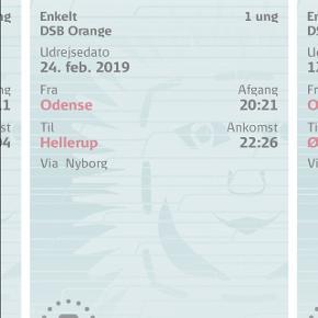Sælger denne togbillet fra Odense til Hellerup st på søndag d 24/2 - orangebillet og koster 85 kr - til ung