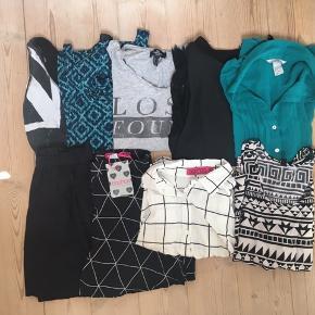 🌸🌸🌸 Pakken består af:  Skjorte fra Boohoo i str. 40 (aldrig brugt) Top fra Boohoo i str. 38 (aldrig brugt) 4 toppe fra Hm i str. 36 (næsten som ny) Nederdel fra Hm i str. S (aldrig brugt) Shorts fra Boohoo (ny med prismærke  🌸🌸🌸
