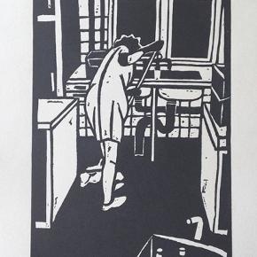 """Tryk af Dea Trier Mørch, motiv: """"I skyllerummet"""".   Fra serien """"Vinterbørn"""" (1976).  Signeret i trykket.   B: 29, H: 42"""
