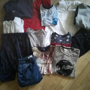 Str 14-16 Gode mærker hound, DNG mm. 4 hættetrøjer, 1 cowboy shorts,1 blå shorts, 1 baggy shorts (nye), 1 par bukser( brugt 1dag), 6 t shirts