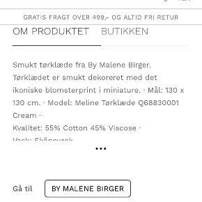 Super fint Meline tørklæde i cream og sort. Købt i sommer for 1500kr men aldrig brugt og fremstår derfor helt som nyt - uden pletter, trådudtræk eller andre brugsspor.