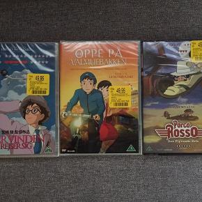3 stk. Hayao Miyazaki Når vinden rejser sig Porco Rosso Oppe på Valmuebakken Alle 3 stadig med prismærke, og i plast 50 kr er for alle 3