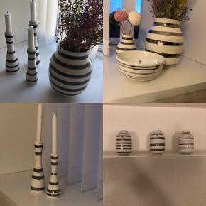 Kähler sælger.  1 sølv vase mellem størrelse, 1 lille sølv, 3 pak lille sølv, 2 sølv lysestager, 1 sølv skål, 3 grå lysestager, 2 grå vaser mellem størrelse.