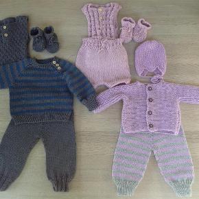 Babytrøje 250 Vest 150 Bukser 150 Hue M kvast 125, uden 100 Futter 50 Luffer 50  Laves i alle størrelse prisen er for 0-3 mdr.  Håndstrikket babytøj Farve: Alle