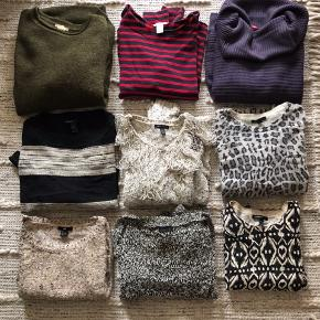 Selling out my knitwear. All worn, but in very good condition. All in size small except the black/gold is in medium. Mix of hm and mango. 3 knits for 120 kr