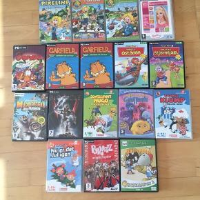 Jeg sælger en masse PC spil med bl.a, Pixeline, Garfield, Barbie,LEGO og mange andre. Sælger dem for 20kr pr. stk.  Billede 1: alle de spil jeg sælger. Billede 2: Pixeline - Magi i Pixieland. Pixeline - Trafiksikker. Pixeline - Matematik 2. Barbie - beauty boutique. Garfield - Mess? What Mess? 2x Garfield - Læsning og udtale.   Billede 3: Fætter Kanin 2 - Halløj på osteøen. Fætter 2 - Den store stjernejagt. Madagascar - mini mayhem. Lego - Bionicle. Jungledyret Hugo - frikadellekrigen. Børnenes TV favoritter - Gnotterne. Rasmus Klump - Fnullers isbod. Bille og Trille - Nu er der jul igen. Bratz - Rocks Angels. Magnus og Myggen - Quizkampen.  Kommer fra et ikke ryger hjem. Afhentes i 2990 Nivå eller sendes mod betaling