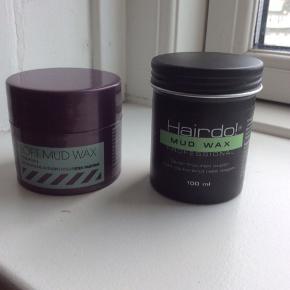 Soft Mud Wax Matas, 75 ml, brugt ca 2 gange Stærkt hold  Hairdo Mudwax, 100 ml, brugt ca 5 gange  Sælges gerne samlet for 25kr.  Sender med DAO. Kan også afhentes hos mig i København K