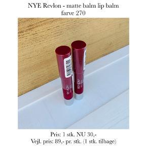 NYE Revlon - matte balm lip balm farve 270   Pris: 1 stk. NU 30,- Vejl. pris: 89,- pr. stk. (1 stk. tilbage)   Se også over 200 andre nye produkter, som jeg har til salg herinde :-)