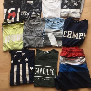 Super gode Tshirt og et par badeshorts  Str 158/164, s,  Kom gerne med bud