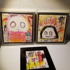 Poul Pava  Billede i ramme til venstre: solgt  Billede i ramme til højre: 200 kr.  Billede i sort ramme forrest: 100 kr.  Køber betaler ts-gebyr samt porto.