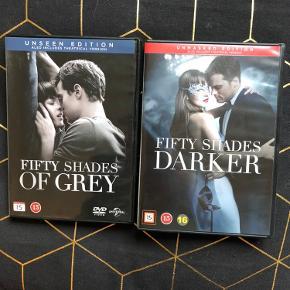 """Filmene """"Fifty shades of grey"""" og """"Fifty shades darker"""" - de første to film i trilogien.  Hver film er set én gang - så de er næsten som nye. Prisen er for begge film og filmene sælges kun samlet.  Afhentes i Hellerup eller sendes med DAO 🌸"""