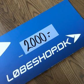 Gavekort på 2000 kr. til løbeshop.dk, hvor det er muligt at købe alt i udstyr til løb. Kom med et fair bud 👍🏼