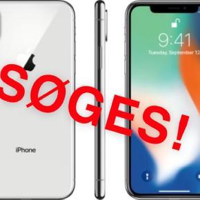 Hej - Jeg søger en Iphone X - Helst 64 gb, eller 128 gb  - Hvid/sølv farve - Skal medfølge kvittering - Skal kunne afhentes i jylland - Vil give omkring 4000-4500, men er      åben for bud :)
